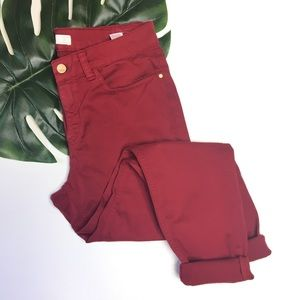 ZARA Denim Skinny Jeans Sz 10 Dark Red 1020